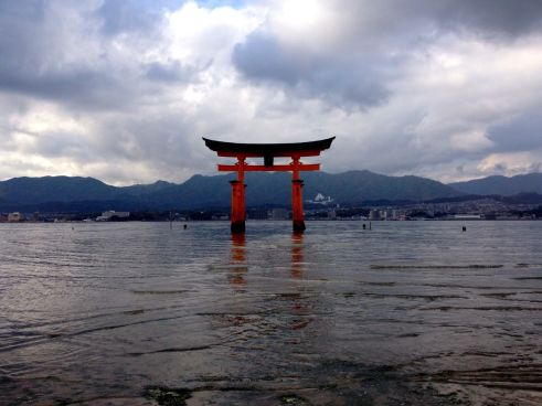 The torii was originally built in 1168 and the current gate dates back to 1875. The torii is built of camphor wood and it was designed to look like it is floating in the sea during high tide.