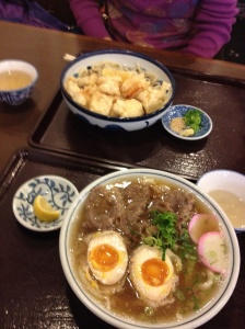 For lunch on Sturdy we went to a local udon restaurant. Udon is a thick noodle that is popular on western Japan.