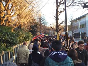 The line outside Meiji Shrine. Keep in mind, this is the less congested entrance.