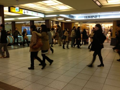 I spend a lot of time at Shinjuku Station and Tokyo Station, two of the busiest train stations in the world. When traveling in swarms, it is best join in with the crowd rather than fight the current.