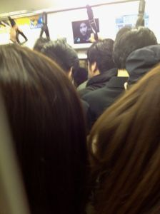 This is a picture I took on the train on the Keio line between Tokyo and Shinjuku stations on a Friday at 5 p.m. Believe it or not, at the next stop the train got even more packed. This was cozy compared to what came next.