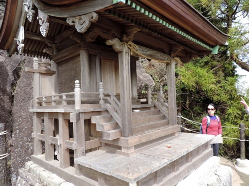 One of the many smaller shrines that dotted the trail. And Lisa.