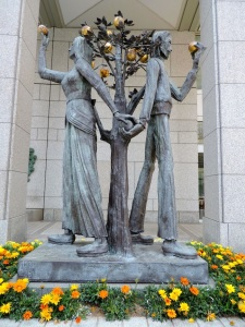 A statue in the courtyard outside the Tokyo Metropolitan Government Building.
