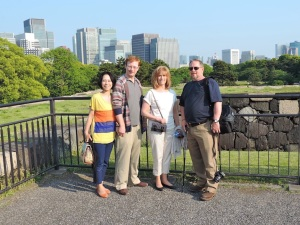 Standing on the remnants of the Edo Castle outside the current Imperial Palace, overlooking Hibiya.