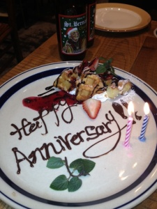 Our special anniversary treat prepared by the chef of Brasserie St. Bernardus.